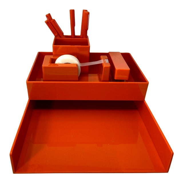 Orange Lucite Complete Stackable Office Desk Accessory Set – Collection of 12 For Sale