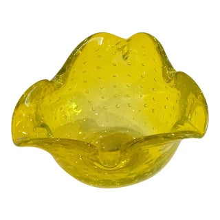 Vintage Murano Canary Yellow Ashtray and Catch-All Bowl With Bullicante
