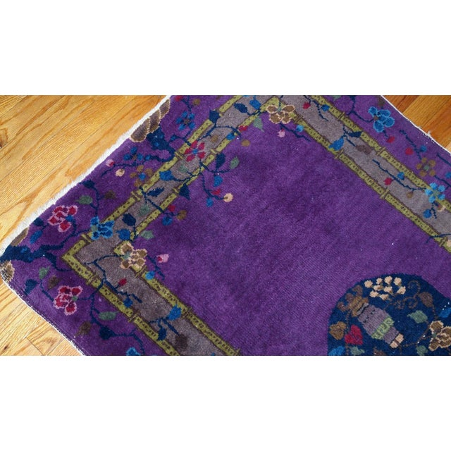 1920s, Hand Made Antique Art Deco Chinese Rug 2.10' X 4.9' For Sale - Image 4 of 13