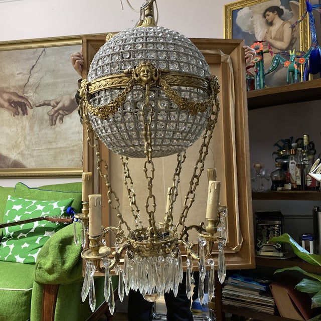 Absolutely gorgeous hot air balloon Chandelier with rosettes and acanthus details.