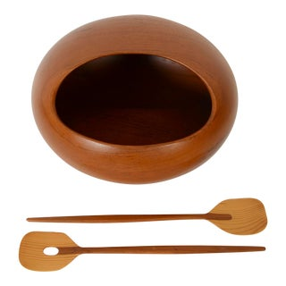 Sowe Konst Swedish Teak Salad Bowl Salad Orb Bowl For Sale