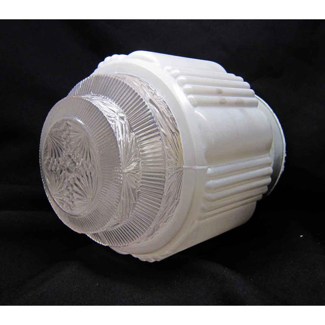 White Milk Glass Wedding Cake Flush Mount Fixtures For Sale - Image 6 of 7