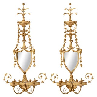 Pair of 19th C. Giltwood Mirrored Sconces For Sale