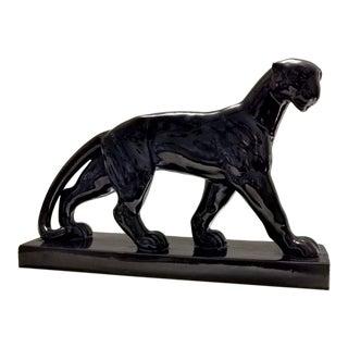 1930s Art Decò Black Ceramic Panther, France For Sale