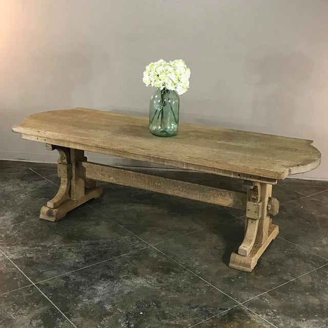 Antique Country French Provincial Stripped Oak Trestle Table For Sale - Image 10 of 11