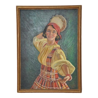 Vintage Early 20th Century Dancer With Tambourine Oil Painting For Sale