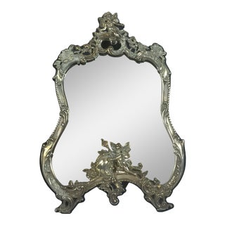 Louis XV Style Rococo Cartouche Form Sterling Frame Table Mirror For Sale
