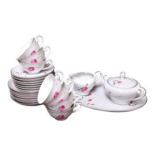 Sterling Rose Diamond China Serving Tea and Dessert 24 Pieces Dish Set for 7 Japan For Sale