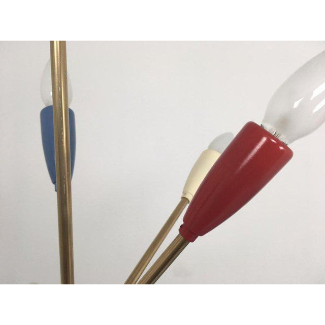Brass 1950s Sputnik Pendant Chandelier Lamp in Different Colors For Sale - Image 7 of 10