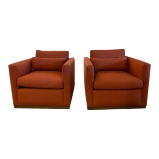Modern Orange Anthony Swivel Chairs - a Pair For Sale