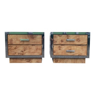 Burlwood Laminate Chrome Accents Nightstands - A Pair For Sale