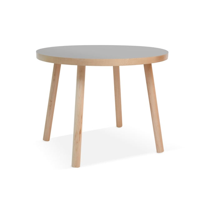 """Nico & Yeye Poco Small Round 23.5"""" Kids Table in Maple With Gray Top For Sale - Image 4 of 4"""