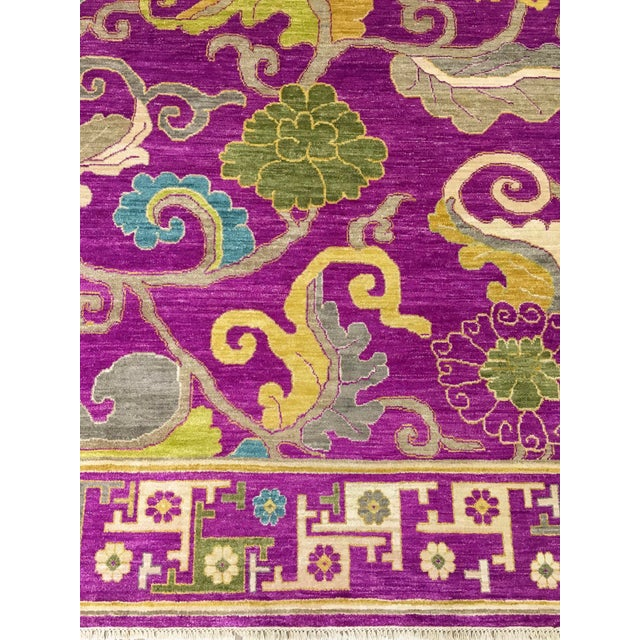 "Purple Exotic Fuschia Chinese Design Rug, 8' X 10'3"" For Sale - Image 8 of 12"
