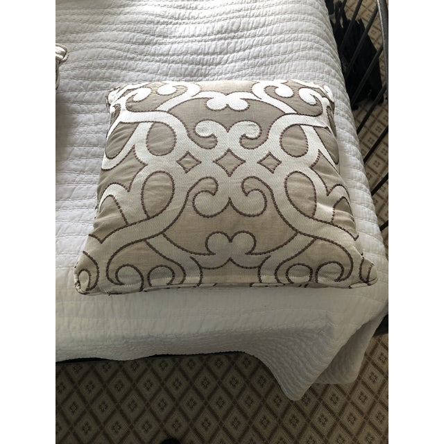 """Purple Scalamandre Damascus Embroidery Square 18"""" Pillows (3 Available) For Sale - Image 8 of 13"""