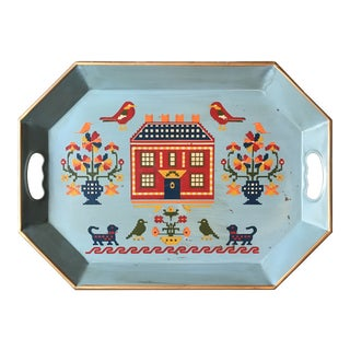 1950s Americana Blue Tole Tray For Sale