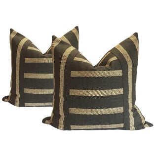 Gray and Khaki Linen Pillows - A Pair For Sale