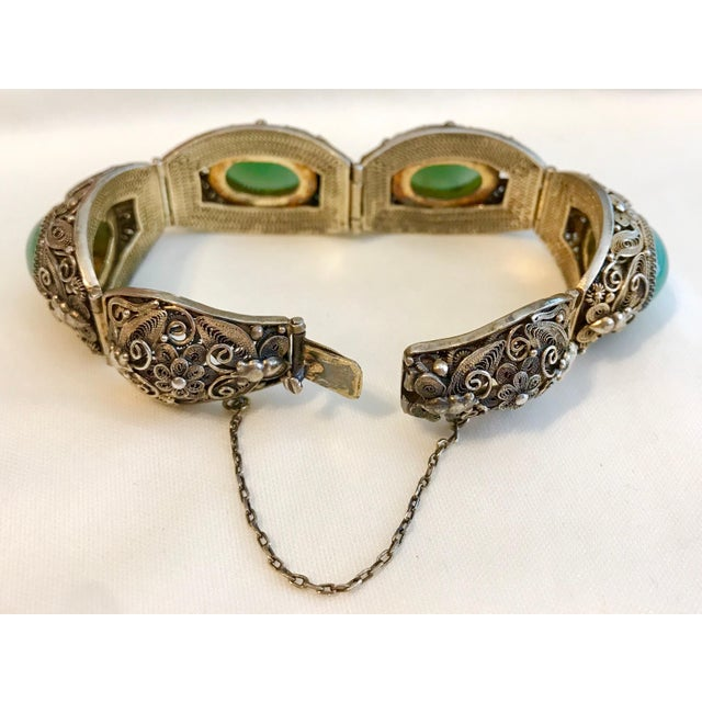 Metal Mid-Century Chinese Gilt Sterling and Jade Bracelet For Sale - Image 7 of 8