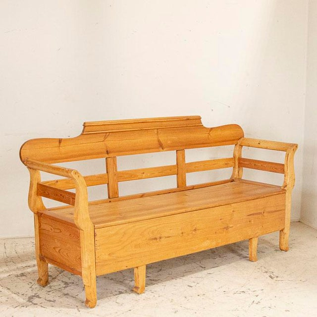 Wood Mid 19th Century Antique Pine Swedish Bench With Storage For Sale - Image 7 of 7