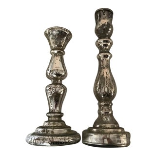 Mercury Glass Candle Sticks - A Pair