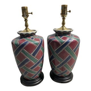 Burgundy English Traditional Mid Century Table Lamps - a Pair For Sale