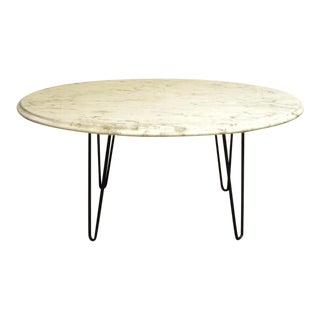 Mid Century Modern Oval White Marble Coffee Cocktail Table For Sale