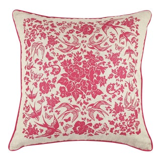 Swallow Garden Linen Pillow For Sale