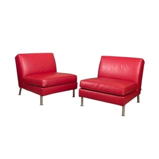 Minotti Red Leather Slipper Chairs With Chrome Legs & Loose Cushion Seats