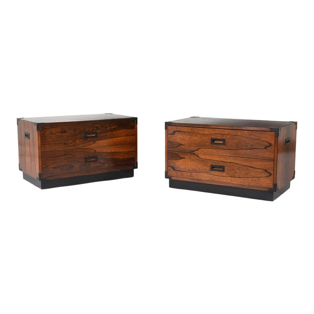 Pair of Campaign-Style Rosewood Chest of Drawers For Sale