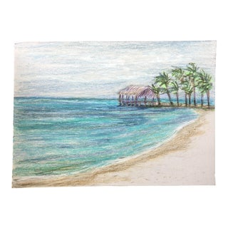 """Final Price Nancy Smith """"Take Me Away"""" Original Colored Pencil Seascape Drawing For Sale"""