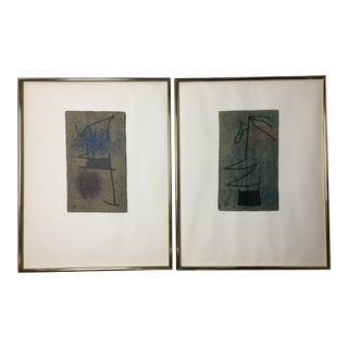 """Joan Miro Mid-Century """"Femme"""" Framed Lithographs - a Pair For Sale"""