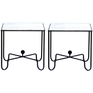 "Contemporary ""Entretoise"" Wrought Iron and Marble Tables - a Pair For Sale"