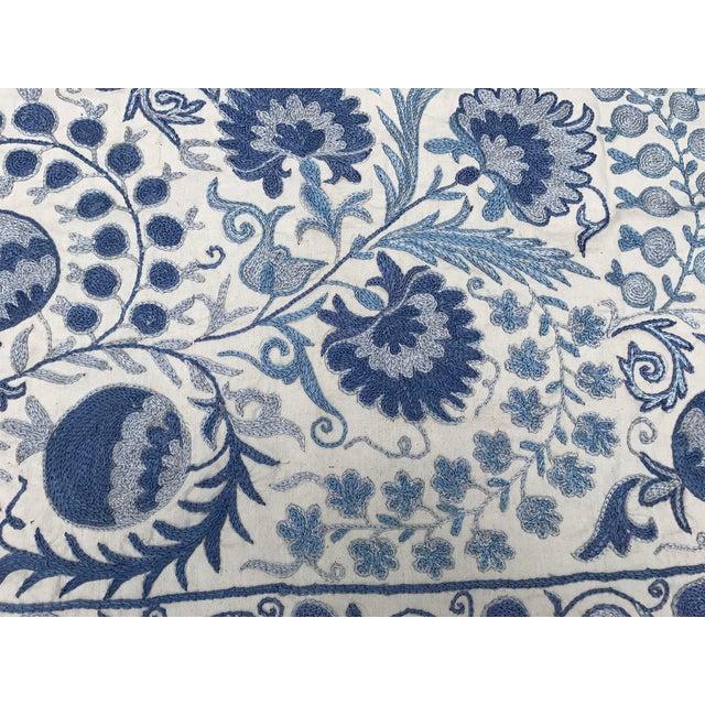 Blue Suzani Silk Table Runner - Image 5 of 6