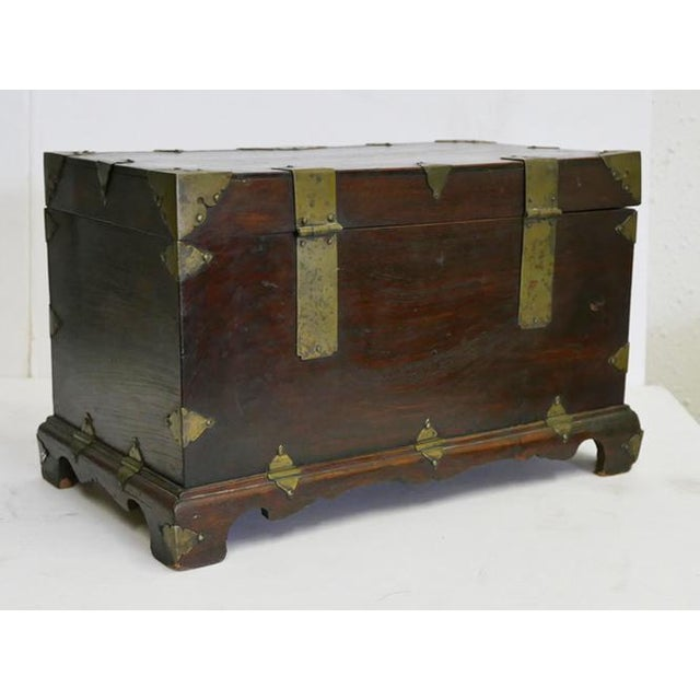 Antique Chinese Money Box Chinese box with brass hinges and large brass lock This could be used as a storage box and it is...