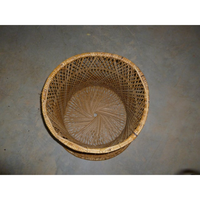 MCM Rattan Wicker Woven Round Side Table - Image 6 of 11