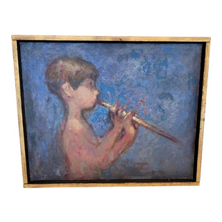 Painting of Boy Playing a Flute For Sale