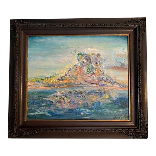"""""""Storm Brewing"""" Contemporary Seascape Oil Painting by Nancy T. Van Ness, Framed For Sale"""