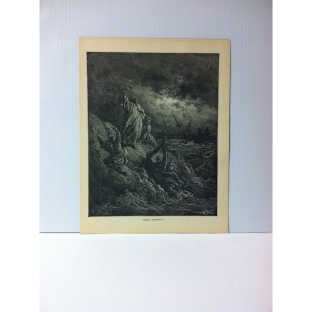 """Antique Gustave Dore' Illustrated Print on Paper """"Paul's Shipwreck"""" 1901 For Sale - Image 4 of 4"""