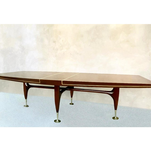 Arturo Pani Mid-Century 1960s Mahogany Dining Table & Chairs by Arturo Pani With Brass Inlay For Sale - Image 4 of 12