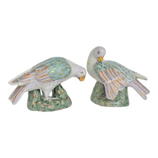 1980s Chinese Export Porcelain Doves - a Pair For Sale
