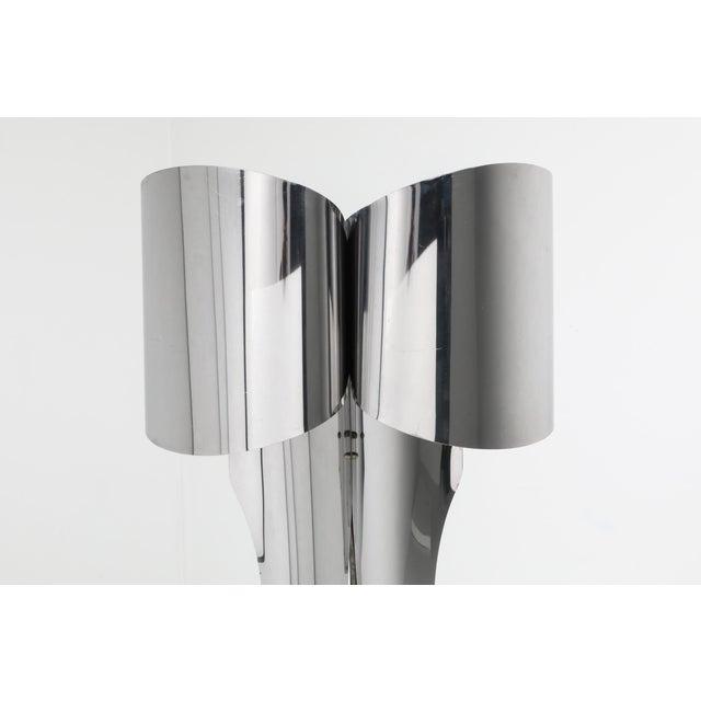Modern Post-Modern Chromed Steel Floor Lamp by Maison Charles - 1970s For Sale - Image 3 of 10