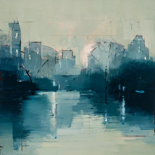 "Lisa Breslow ""Nocturne 2"" Blue Cityscape Oil Painting on Panel For Sale"