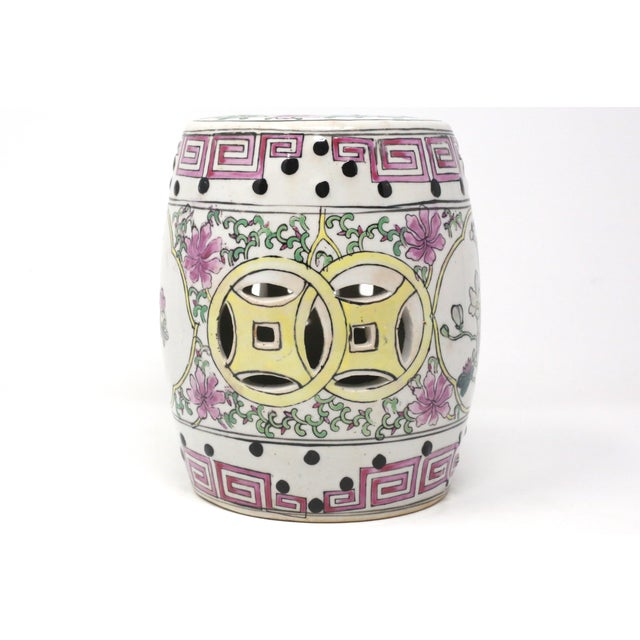 Pink Miniature Ceramic Garden Stool Figurine For Sale - Image 8 of 13