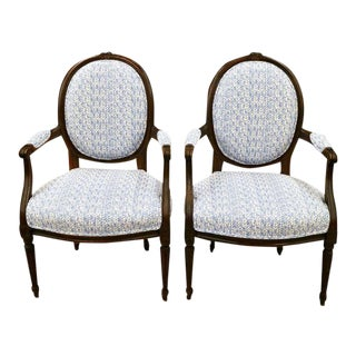 Louis XVI Style Oak Fauteuils - A Pair