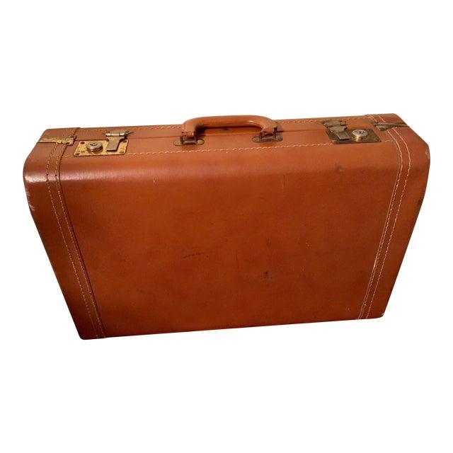 Vintage Cognac Leather Suitcase - Image 1 of 8
