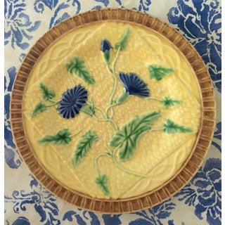 Majolica Yellow and Blue Basketweave Fruit Serving Plate Preview