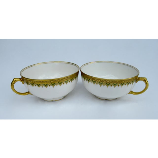 """C1930s French Art Deco Limoges """"Elite Works"""" 24k Gilt Gold & Green Rimmed Asst. Dishes & Cups -Set of 11 For Sale In West Palm - Image 6 of 13"""
