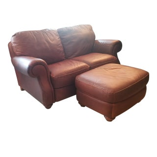 Early 21st Century Vintage Loveseat & Ottoman Set For Sale
