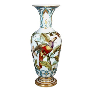 Baccarat Opaline Crystal Vases Decorated with Birds, Decoration by Jean-Francois Robert, Circa 1843-50.