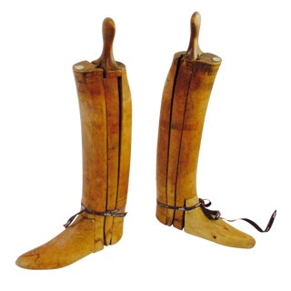 Antique English Wood Boot Forms With Hermes Ribbon For Sale