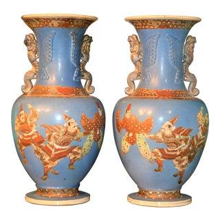 1900s Japanese Cornflower Blue Satsuma Samurai Moriage Vases - a Pair